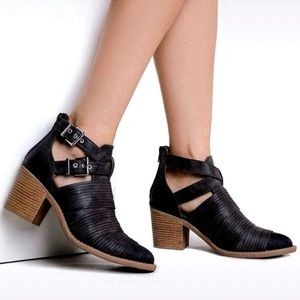 New Qupid booties ankle boots black strappy buckle